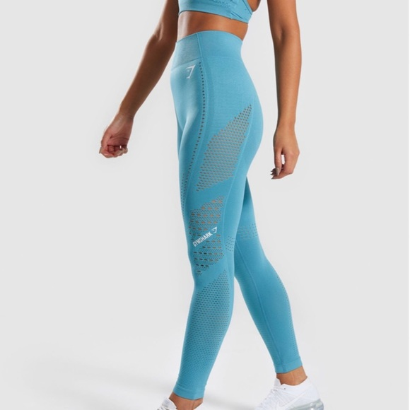 7faaf14e1724d7 Gymshark Pants | Flawless Knit Tights In Teal | Poshmark